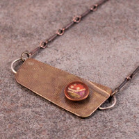 "Roller Printed Copper Necklace with Origami Paper and Resin- Gold, Red, Purple, Green- on 16"" Antique Copper Chain"