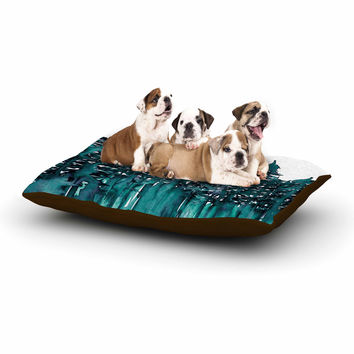 "Ebi Emporium ""Forest Through The Trees 5"" Teal White Dog Bed"