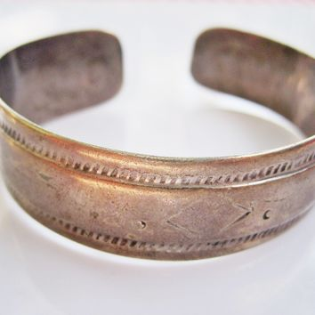 Vintage Thin Berber Silver Cuff or Bracelet