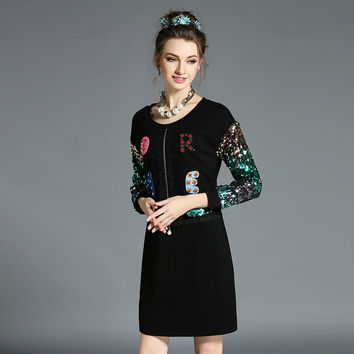 Women Plus Size Black Dress Sequined Long Sleeve Embellished Mini Shift Dresses L to 5XL