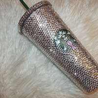 """Iced Up"" Starbuck Bling Cold Drink Tumbler"