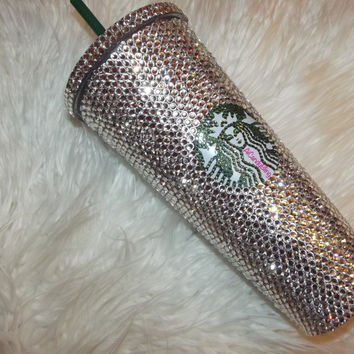 """""""Iced Up"""" Starbuck Bling Cold Drink Tumbler"""