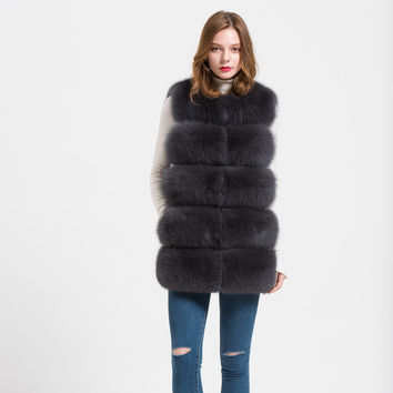 5 Row Style Real Thick Fox Fur Soft Vest Coat
