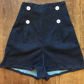 Handmade Retro Sailor Slim Stretch Indigo Denim Shorts Navy Blue Rockabilly Vintage Pinup High Waist Side Zip 1940s 1950s Pick Button XS S M