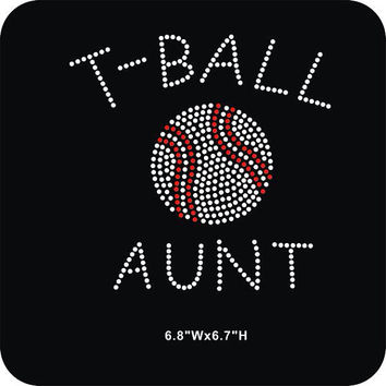 T ball Aunt iron on rhinestone heat transfer - DIY team sports appliqué motif for shirts tees