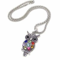 Retro Owl Crystal Necklace