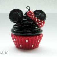 Minnie Mouse Cupcake Clay Charm - Handcrafted Polymer Clay Charm - Disney Inspired Jewelry - Character Cupcake