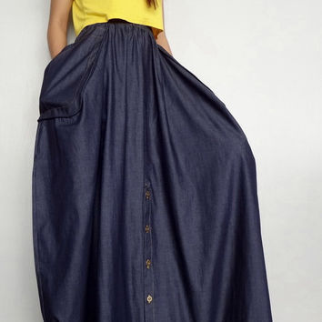 Women Convertible Long Skirt Or Pants, Casual Wide Legs,Dark Blue Denim Lightweight  (Skirt WS-6).