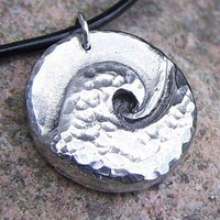 Ocean Wave Necklace, Hammered Surf, Rustic Jewelry