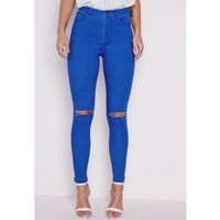 Missguided - High Waisted Ripped Knee Skinny Jeans Intense Blue