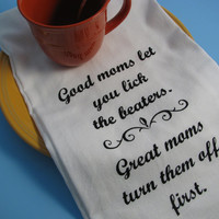 Large super soft flour sack towel, tea towel, with funny MOM print with your choice of 6 ink colors.