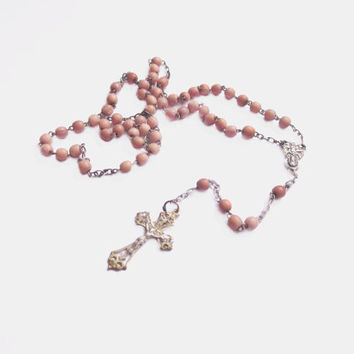 Vintage Religious Necklace, Coral Rosary Beads
