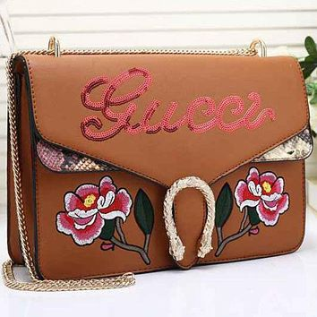 H Gucci Women Leather Multicolor Sequin Satchel Crossbody Shoulder Bag
