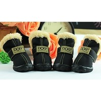 Black Ivory Teddy Fur Lined Waterproof Winter Snow Pet Dog Boots