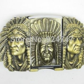 Bronze Native American Indian Chief Western Lighter Belt Buckle