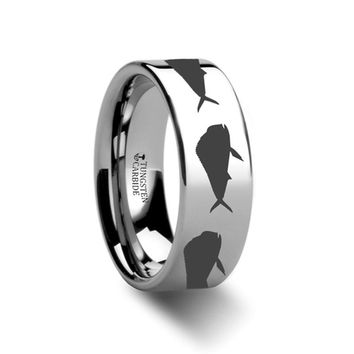 Sea Pattern - Mahi Fish Jumping - Sea Print Ring - Laser Engraved - Flat Tungsten Ring - 4mm - 6mm - 8mm - 10mm - 12mm