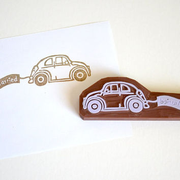 Hand Carved Rubber Stamp / Just Married / Car