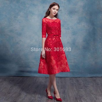Oumeiya OED549 Real Pictures Elegant Red Lace Vintage Tea Length Cocktail Girl Party Wear Western Dress 2016