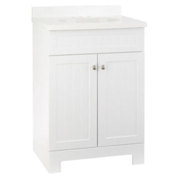 Shop Style Selections Ellenbee White Integral Single Sink Bathroom Vanity with Cultured Marble Top (Common: 25-in x 19-in; Actual: 25-in x 18.5-in) at Lowe's