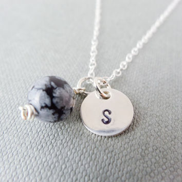 Silver initial necklace, Snowflake Obsidian necklace, stamped letter necklace, simple silver charm, gift for her, black and white necklace