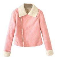 Pink Lapel Zipper Jacket