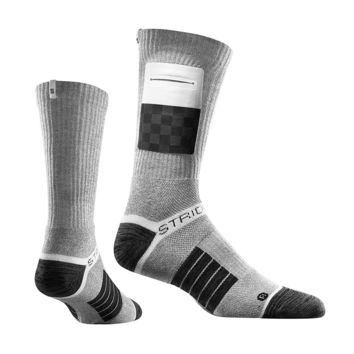 Strideline Elite The Grid Grey Crews socks with Checkered Pouch