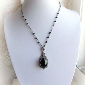 Gothic black Swarovski crystal necklace gothic victorian black crystal pendant necklace renaissance bridal bridesmaid romantic necklace