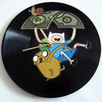 Adventure Time vinyl record clock