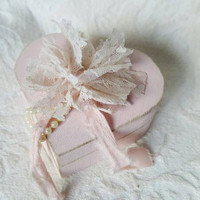 Shabby Distressed Aged Blush Heart Wedding Ringbearers Box