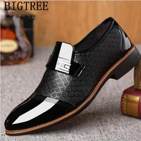 italian black formal shoes men loafers wedding dress shoes men patent leather oxford shoes for men chaussures hommes en cuir