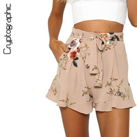 Cryptographic fashion ruffles loose shorts women sexy print high waist shorts sashes casual 2017 summer shorts bottom short hot