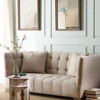 """Haute House - """"Brittany"""" Tufted Linen Sofa - Horchow"""