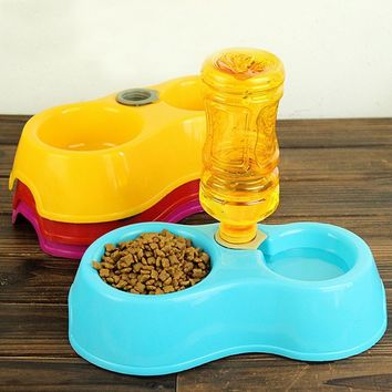 2016 Tableware Dog Feeder Food Bowl Pet Colorful Cat Double Dishes Plastic Automatic Water Drinking