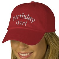 Birthday Girl Cute Embroidered Hat | Zazzle