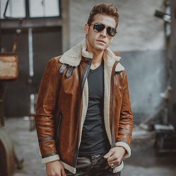 Men's real leather jacket motorcycle pigskin Genuine Leather jackets with faux shearling liner winter warm coat men