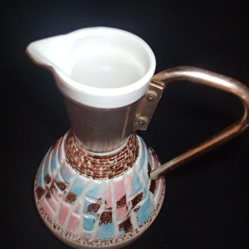 Mosaic Carafe/pitcher signed C. Miller 1957 Mid Century coffee tea pot