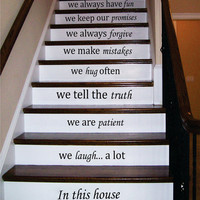 Stair Decals Wall Decals Quotes In this house... we love STAIRCASE Quote Vinyl Sticker Decal Stairway Home Decor - Family Decals #33