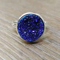 Druzy Ring- Deep blue drusy silver tone druzy ring
