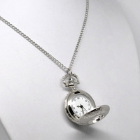 """2016 New Silver Tone Necklace Chain Quartz Pocket Watch 33-7/8"""" Free Shipping"""