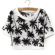 Back and White Tropical Print Crop Top