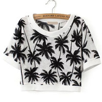 Black and White Tropical Print Crop Top
