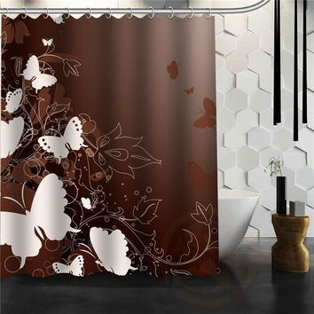 Custom Elegant Butterfly Shower Curtain Multi Size bathroom curtains