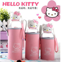 2016 new hello kitty sports glass portable high boron silicon high-temperature glass Water Bottles creative cute cartoon car