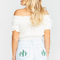 Wyoming High Waisted Shorts ~ Whitewater with Cactus