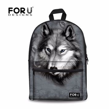 FORUDESIGNS 2017 Men's Travel Backpack 3D Animal Printing Cool Wolf Backpacks Men Kids Students Bagpack Boys Canvas School Bags