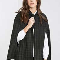 FOREVER 21 Hooded Plaid Cape Black/Grey