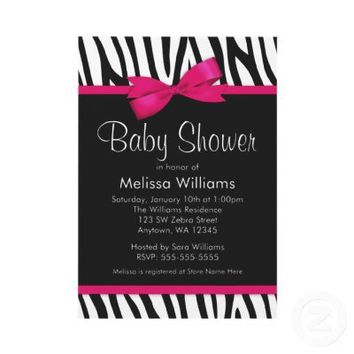 Zebra Hot Pink Printed Bow Baby Shower Invitation from Zazzle.com