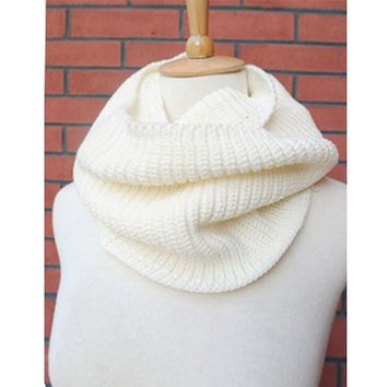 High Quality FreeShipping Hot Women Lady Winter Warm Infinity 2 Circle Cable Knit Cowl Neck Long Scarf Shawl For Women