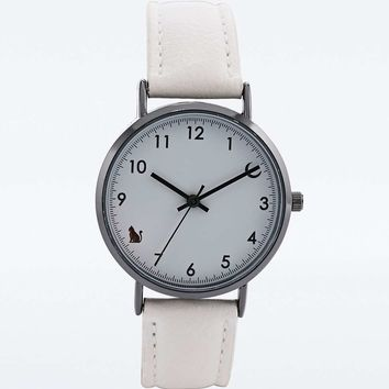 Cat and Moon Face Watch in White - Urban Outfitters