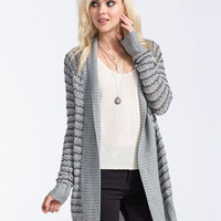 Full Tilt Striped Womens Cardigan Charcoal  In Sizes